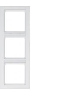 Q.3 Ramka 3-krotna pionowa z polem opisowym, biały, aksamit Berker 10536099