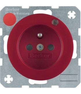 R.1/R.3 Gniazdo z uziemieniem i diodą kontrolną LED, czerwony, połysk Berker 6765092022