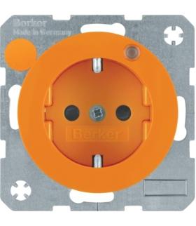 R.1/R.3 Gniazdo z uziemieniem i diodą kontrolną LED, pomarańczowy, połysk Berker 6765092007