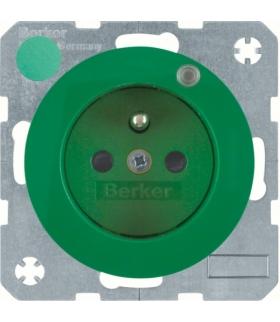 R.1/R.3 Gniazdo z uziemieniem i diodą kontrolną LED, zielony, połysk Berker 6765092003