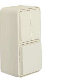 W.1 Łącznik seryjny z gniazdem SCHUKO pionowy, kompletny, IP55, biały Berker 47903512