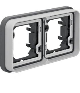 W.1 Ramka 2-krotna pozioma do montażu podtynkowego, IP55, szary Berker 13293505