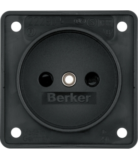 Integro Flow Gniazdo bez uziemieniaz podwyższona ochroną styków, mechanizm, czarny, mat Berker 9619405