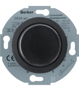 Serie 1930/Glas Ściemniacz uniwersalny z płynną regulacją i elementem centralnym i pokrętłem regulacyjnym, czarny Berker 283411