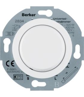 Serie 1930/Glas Ściemniacz uniwersalny z płynną regulacją i elementem centralnym i pokrętłem regulacyjnym, biały Berker 283410
