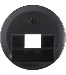 Serie 1930/Glas Płytka czołowa do gniazda przyłączeniowego UAE 1-kr komputerowego i telefonicznego, czarny Berker 140701