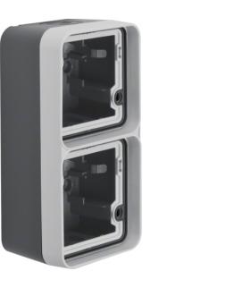 W.1 Adapter natynkowy 2-kr pionowy, 2 wejścia, IP55, szary Berker 6719333505