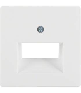 Q.x Płytka czołowa do gniazda przyłączeniowego UAE 2-kr komputerowego i telefonicznego, biały, aksamit Berker 14096089