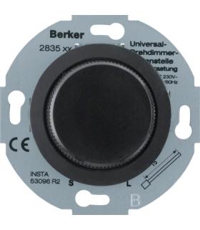 Serie 1930/Glas Rozszerzenie ściemniacza uniwersalnego z płynną regulacją i elementem centralnym, czarny Berker 283511