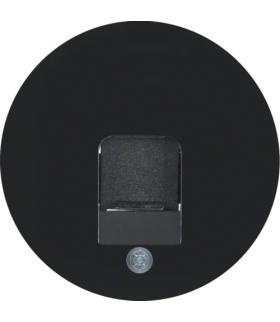 R.1/R.3 Płytka czołowa z zasuwą chroniącą przed kurzem z polem opisowym, czarny, połysk Berker 11702045
