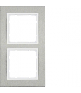B.7 Ramka 2-krotna pozioma, stal szlachetna/biały mat Berker 10223609