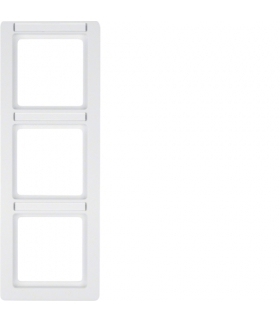 Q.1 Ramka 3-krotna pionowa z polem opisowym, biały, aksamit Berker 10136019