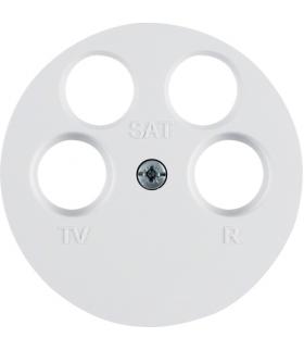R.1/R.3 Płytka czołowa do gniazda antenowego 4-wyjściowego, biały, połysk Berker 14842089