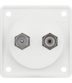 Integro Flow Gniazdo antenowe TV/Radio z obudową nieekranowaną, biały, mat Berker 945612502