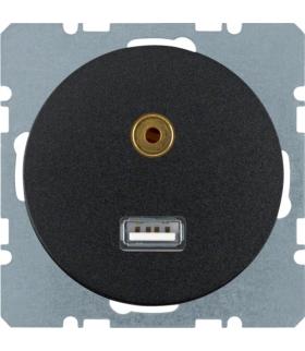 R.1/R.3 Gniazdo USB/3,5mm audio, czarny, połysk Berker 3315392045