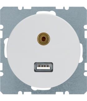 R.1/R.3 Gniazdo USB/3,5mm audio, biały, połysk Berker 3315392089