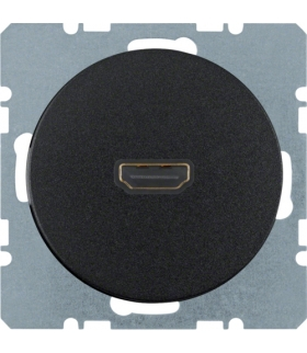 R.1/R.3 Gniazdo HDMI z przyłączem 90° czarny, połysk Berker 3315432045
