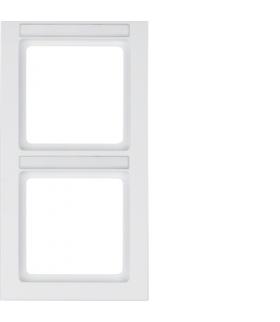 Q.3 Ramka 2-krotna pionowa z polem opisowym, biały, aksamit Berker 10526099