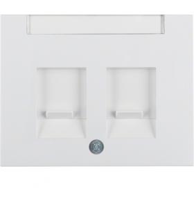 K.1 Płytka czołowa podwójna z zasuwami chroniącymi przed kurzem z polem opisowym, biały Berker 11827009