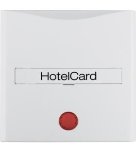 S.1/B.3/B.7 Nasadka z nadrukiem i czerwoną soczewką do łącznika na kartę hotelową, biały Berker 16401909