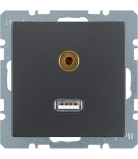 Q.x Gniazdo USB/3,5mm audio, antracyt, aksamit lakierowany Berker 3315396086