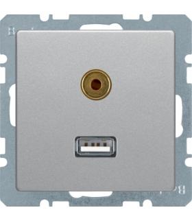 Q.x Gniazdo USB/3,5mm audio, alu aksamit, lakierowany Berker 3315396084