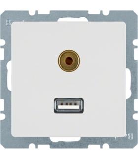 Q.x Gniazdo USB/3,5mm audio, biały, aksamit Berker 3315396089