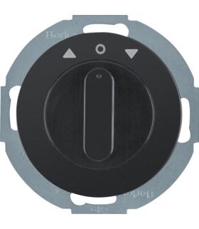 R.classic Łącznik żaluzjowy obrotowy z elementem centralnym i pokrętłem, 1-biegunowy, czarny, połysk Berker 38112045