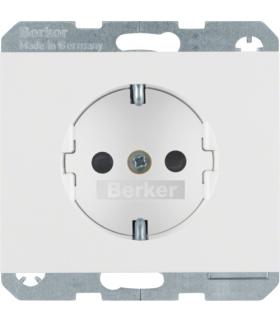 K.1 Gniazdo SCHUKO z przesłonami styków, samozaciski, biały Berker 47357009