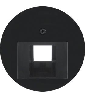 R.x Płytka czołowa do gniazda przyłączeniowego UAE 1-kr komputerowego i telefonicznego, czarny, połysk Berker 14072045