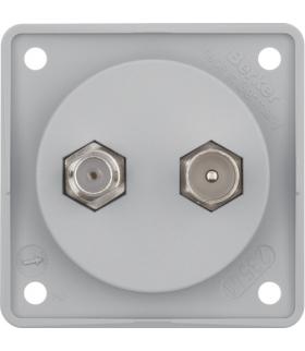 Integro Flow Gniazdo przyłaczeniowe - antenowe TV/SAT, mechanizm, szary, mat Berker 845632506