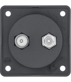 Integro Flow Gniazdo przyłaczeniowe - antenowe TV/SAT, mechanizm, czarny, mat Berker 845632503