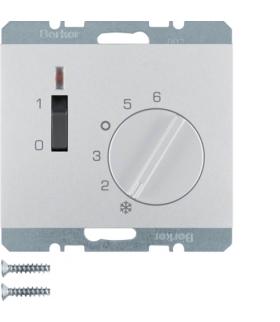 K.5 Regulator temperatury pomieszczenia 24 V ze stykiem zwiernym, elementem centralnym, łącznikiem i diodą, alu Berker 20317103