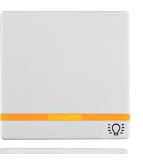 """Q.x Klawisz z 2 dołączonymi soczewkami i nadrukiem symbolu """"światło"""" do łącznika 1-klawiszowego, biały, aksamit Berker 16216079"""