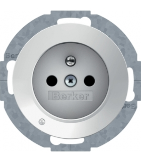 R.1/R.3 Gniazdo z uziemieniem z podświetleniem orientacyjnym LED, biały Berker 6765102089