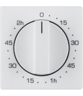 Q.x Płytka czołowa z pokrętłem regulacyjnym do łącznika czasowego 0-120 min, biały, aksamit Berker 16336089