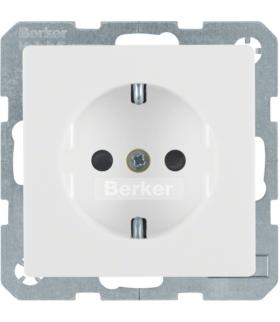 Q.x Gniazdo SCHUKO kompletne z przesłonami styków, samozaciski, biały, aksamit Berker 47236089