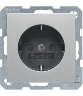 Q.x Gniazdo SCHUKO kompletne, samozaciski, alu aksamit, lakierowany Berker 47236084