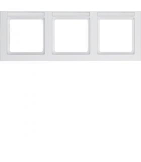 Q.3 Ramka 3-krotna pozioma z polem opisowym, biały, aksamit Berker 10236099