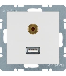 B.x/S.1 Gniazdo USB/3,5mm audio, biały, połysk Berker 3315398989