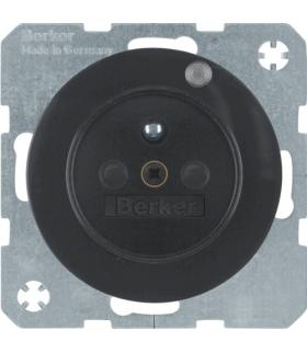 R.1/R.3 Gniazdo z uziemieniem i diodą kontrolną LED, czarny, połysk Berker 6765092045