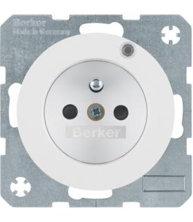 R.1/R.3 Gniazdo z uziemieniem i diodą kontrolną LED, biały, połysk Berker 6765092089