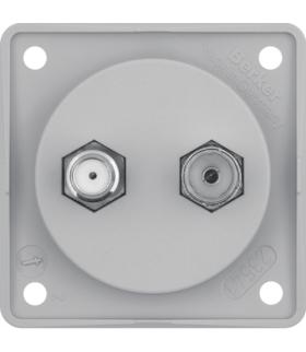 Integro Flow Gniazdo antenowe Radio/SAT z obudową nieekranowaną, szary, mat Berker 945602506