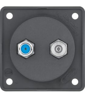 Integro Flow Gniazdo antenowe Radio/SAT z obudową nieekranowaną, antracyt, mat Berker 945602505
