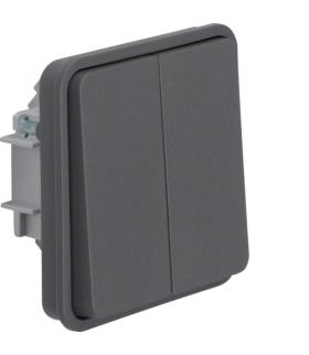 W.1 Moduł łącznika 2-klawiszowy 2-kr uniwersalny schodowy, osobne zaciski wejściowe, IP55, szary Berker 30483515