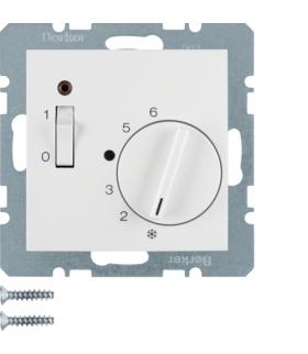 B.Kwadrat Reg. temp. pom. 24 V st. zw., el. centr., łącznikiem i diodą, biały