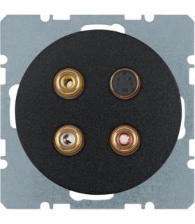 R.1/R.3 Gniazdo 3xCinch/S-Video, czarny, połysk Berker 3315322045