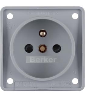 Integro Flow Gniazdo z uziemieniem z podwyższona ochroną styków, szary, mat Berker 961952506