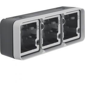 W.1 Adapter natynkowy 3-kr poziomy, 2 wejścia, IP55, szary Berker 6019303505