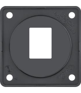 Integro Flow Płytka nośna 1-krotna do gniazd modularnych AMP, czarny, połysk Berker 9455705